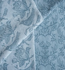 Linen dyed & printed with Annie Sloan paints using Flock & Tapet rollers